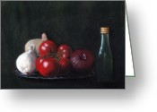 Red Pastels Greeting Cards - Tomatoes and Onions Greeting Card by Anastasiya Malakhova