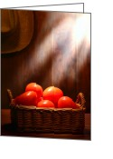 Wicker Greeting Cards - Tomatoes at an Old Farm Stand Greeting Card by Olivier Le Queinec