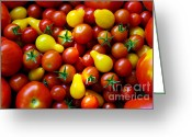 Sell Greeting Cards - Tomatoes Background Greeting Card by Carlos Caetano
