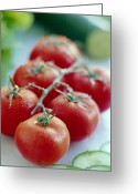 Food And Beverage Greeting Cards - Tomatoes Greeting Card by David Munns