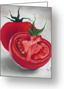 Food And Beverage Painting Greeting Cards - Tomatoes Greeting Card by Ilse Kleyn