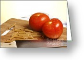 Wooden Board Greeting Cards - Tomatoes pasta and knife Greeting Card by Blink Images