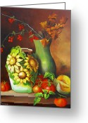 Dominica Alcantara Greeting Cards - Tomatos and a Sunflowered Vase Greeting Card by Dominica Alcantara