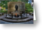 Independence Park Greeting Cards - Tomb of the Unknown Revolutionary War Soldier - George Washington  Greeting Card by Lee Dos Santos
