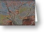 Tomboy Greeting Cards - Tomboy In The Tree Greeting Card by Randall Branham