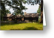Log Cabin Photographs Photo Greeting Cards - Toms cabin in Newport Greeting Card by Robert Margetts