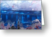 Ocean Tapestries - Textiles Greeting Cards - Toms Sail Greeting Card by Danita Cole