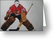 Hockey Mixed Media Greeting Cards - Tony Esposito Greeting Card by Brian Schuster