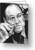 Pencil Greeting Cards - Tony Soprano at the Bing Greeting Card by Jason Kasper