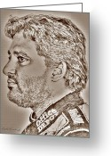 Hall Of Fame Greeting Cards - Tony Stewart in 2011 Greeting Card by J McCombie