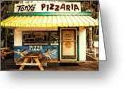 Tony Greeting Cards - Tonys Pizzaria Greeting Card by Ron Regalado