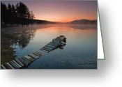 Twilight Greeting Cards - Too Early for Fishing Greeting Card by Evgeni Dinev