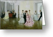 Ball Gown Painting Greeting Cards - Too Early Greeting Card by James Jacques Joseph Tissot