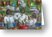 Chefs Greeting Cards - Too Many Cooks Greeting Card by Eva Folks
