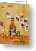 Jack Daniels Greeting Cards - Too Many Jacks Greeting Card by Karen Fleschler