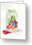Ball Jar Greeting Cards - Tootsie Pop Jar Greeting Card by Sheryl Heatherly Hawkins