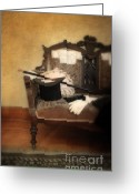 Edwardian Greeting Cards - Top Hat and Cane on Sofa Greeting Card by Jill Battaglia