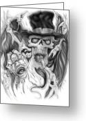 Evil Greeting Cards - Top Hat Greeting Card by Mike Royal