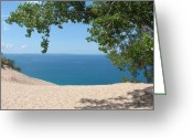 Lake Michigan Greeting Cards - Top of the Dune at Sleeping Bear Greeting Card by Michelle Calkins