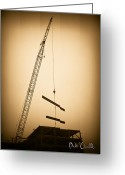 Crane Greeting Cards - Top of the skyscraper Greeting Card by Bob Orsillo