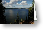 Harsh Greeting Cards - Top wow spot - Crater Lake in Crater Lake National Park Oregon Greeting Card by Christine Till