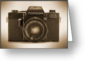 White Digital Art Greeting Cards - Topcon Auto 100 Greeting Card by Mike McGlothlen
