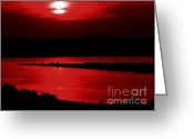 Julie Dant Photo Greeting Cards - Topsail Island Blood-red Sunset Greeting Card by Julie Dant
