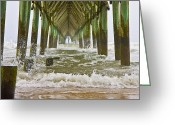 Topsail Greeting Cards - Topsail Island Pier Greeting Card by East Coast Barrier Islands Betsy A Cutler