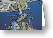 Topsail Greeting Cards - Topsail Island Swing Bridge Greeting Card by East Coast Barrier Islands Betsy A Cutler