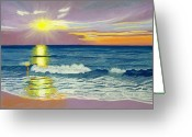 Waves Pastels Greeting Cards - Topsail Sunrise Greeting Card by Cathy Harville
