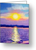 Evening Scenes Pastels Greeting Cards - Topsail Sunset II Greeting Card by Cathy Harville