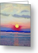 Topsail Island Pastels Greeting Cards - Topsail Sunset III Greeting Card by Cathy Harville