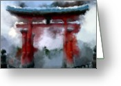 Miyajima Greeting Cards - Torii Greeting Card by Geoffrey C Lewis