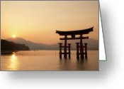 Miyajima Greeting Cards - Torii Greeting Card by Jaylie Wong