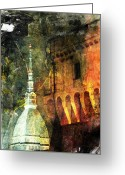 Nightlight Greeting Cards - Torino Greeting Card by Andrea Barbieri
