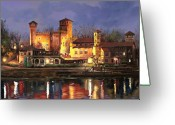Castle Painting Greeting Cards - Torino-il borgo medioevale di notte Greeting Card by Guido Borelli