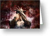Head Greeting Cards - Torment Greeting Card by Andrew Paranavitana