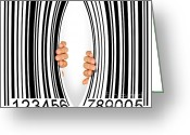 Finance Greeting Cards - Torn Bar Code Greeting Card by Carlos Caetano