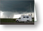 "\\\""storm Chasers\\\\\\\"" Greeting Cards - Tornado, Vortex2 Field Command Vehicle Greeting Card by Science Source"