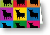 Bull Greeting Cards - Toro Pop Art Greeting Card by Michael Tompsett