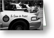 Cop Cars Greeting Cards - Toronto Police Squad Cars Outside Police Station In Downtown Toronto Ontario Canada Greeting Card by Joe Fox