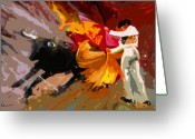 Torero Greeting Cards - Toroscape 04 Greeting Card by Miki De Goodaboom