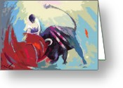 Torero Greeting Cards - Toroscape 33 Greeting Card by Miki De Goodaboom