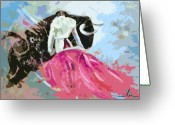 Torero Greeting Cards - Toroscape 34 Greeting Card by Miki De Goodaboom