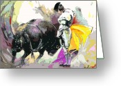 Torero Greeting Cards - Toroscape 39 Greeting Card by Miki De Goodaboom