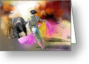 Torero Greeting Cards - Toroscape 43 Greeting Card by Miki De Goodaboom