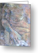 Crayon Painting Greeting Cards - Torso. Greeting Card by Harry Robertson