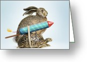 Hare Greeting Cards - Tortoise And Hare Greeting Card by Gandee Vasan