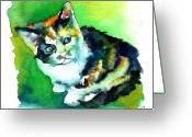 Kitty Greeting Cards - Tortoise Shell Kitten Greeting Card by Christy  Freeman