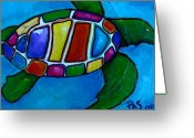Reptiles Painting Greeting Cards - Tortuga Greeting Card by Patti Schermerhorn